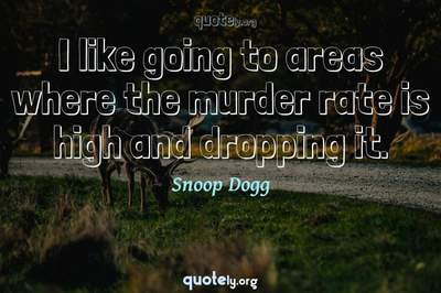 Photo Quote of I like going to areas where the murder rate is high and dropping it.