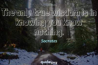 Photo Quote of The only true wisdom is in knowing you know nothing.