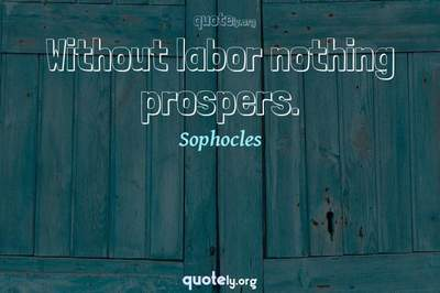 Photo Quote of Without labor nothing prospers.