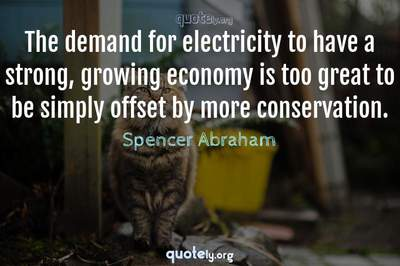 Photo Quote of The demand for electricity to have a strong, growing economy is too great to be simply offset by more conservation.