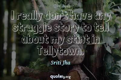 Photo Quote of I really don't have any struggle story to tell about my stint in Tellytown.