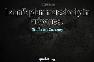 Photo Quote of I don't plan massively in advance.