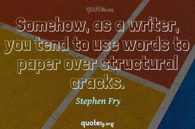Photo Quote of Somehow, as a writer, you tend to use words to paper over structural cracks.