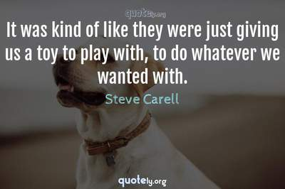 Photo Quote of It was kind of like they were just giving us a toy to play with, to do whatever we wanted with.