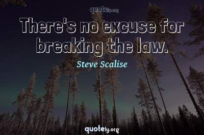 Photo Quote of There's no excuse for breaking the law.