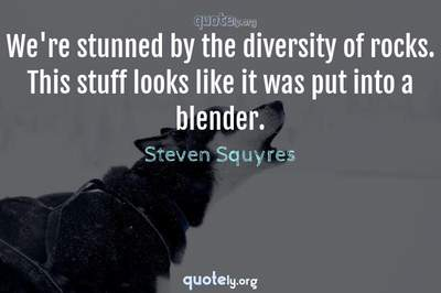 Photo Quote of We're stunned by the diversity of rocks. This stuff looks like it was put into a blender.