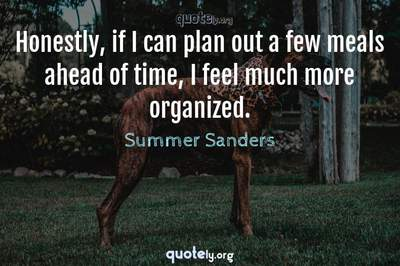 Photo Quote of Honestly, if I can plan out a few meals ahead of time, I feel much more organized.