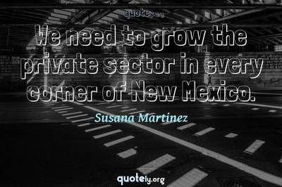 Photo Quote of We need to grow the private sector in every corner of New Mexico.