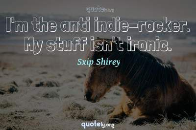Photo Quote of I'm the anti indie-rocker. My stuff isn't ironic.