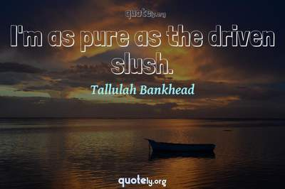 Photo Quote of I'm as pure as the driven slush.