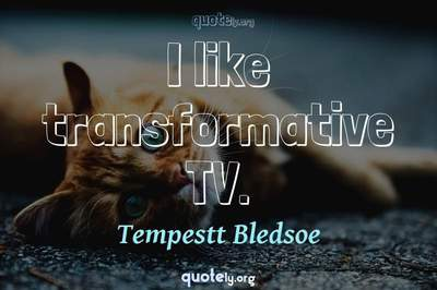 Photo Quote of I like transformative TV.