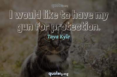 Photo Quote of I would like to have my gun for protection.