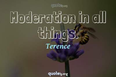 Photo Quote of Moderation in all things.