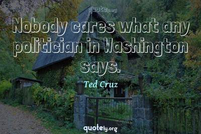 Photo Quote of Nobody cares what any politician in Washington says.