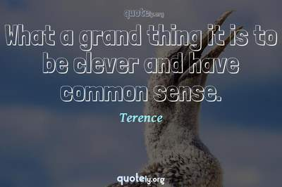 Photo Quote of What a grand thing it is to be clever and have common sense.