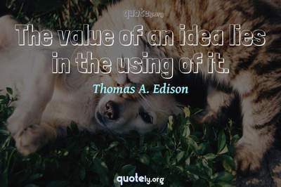 Photo Quote of The value of an idea lies in the using of it.