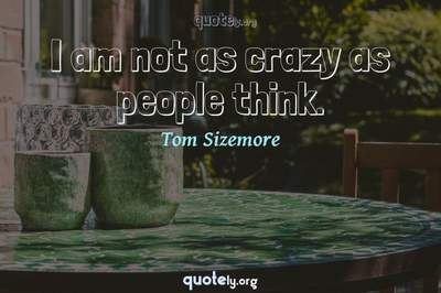 Photo Quote of I am not as crazy as people think.