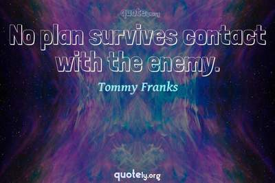 Photo Quote of No plan survives contact with the enemy.