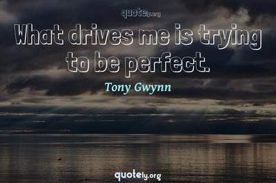 Photo Quote of What drives me is trying to be perfect.