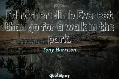 Photo Quote of I'd rather climb Everest than go for a walk in the park.