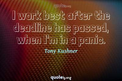 Photo Quote of I work best after the deadline has passed, when I'm in a panic.