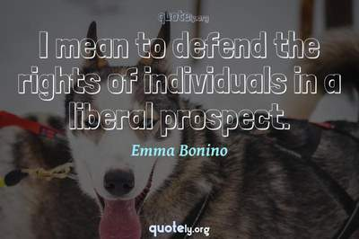 Photo Quote of I mean to defend the rights of individuals in a liberal prospect.