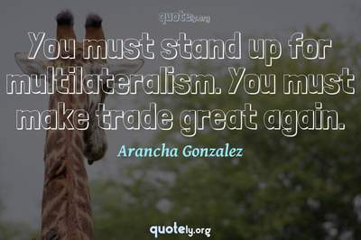 Photo Quote of You must stand up for multilateralism. You must make trade great again.