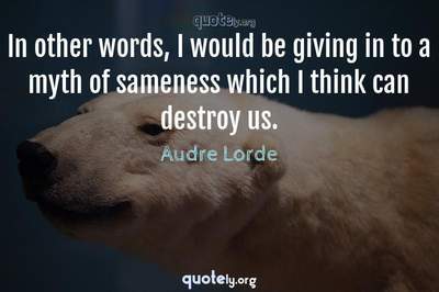 Photo Quote of In other words, I would be giving in to a myth of sameness which I think can destroy us.