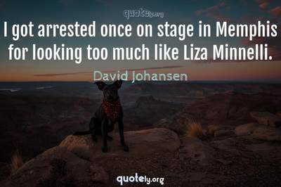Photo Quote of I got arrested once on stage in Memphis for looking too much like Liza Minnelli.