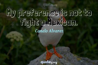 Photo Quote of My preference is not to fight a Mexican.