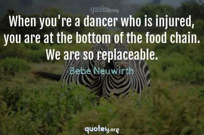Photo Quote of When you're a dancer who is injured, you are at the bottom of the food chain. We are so replaceable.