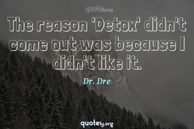 Photo Quote of The reason 'Detox' didn't come out was because I didn't like it.
