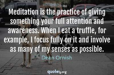 Photo Quote of Meditation is the practice of giving something your full attention and awareness. When I eat a truffle, for example, I focus fully on it and involve as many of my senses as possible.