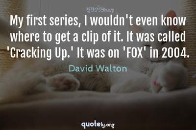 Photo Quote of My first series, I wouldn't even know where to get a clip of it. It was called 'Cracking Up.' It was on 'FOX' in 2004.