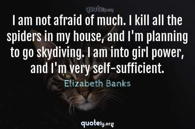 Photo Quote of I am not afraid of much. I kill all the spiders in my house, and I'm planning to go skydiving. I am into girl power, and I'm very self-sufficient.
