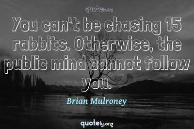 Photo Quote of You can't be chasing 15 rabbits. Otherwise, the public mind cannot follow you.
