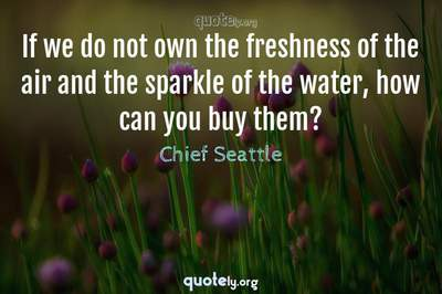 Photo Quote of If we do not own the freshness of the air and the sparkle of the water, how can you buy them?
