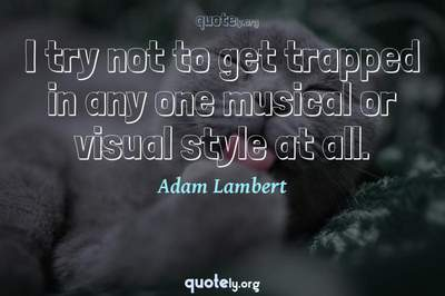 Photo Quote of I try not to get trapped in any one musical or visual style at all.