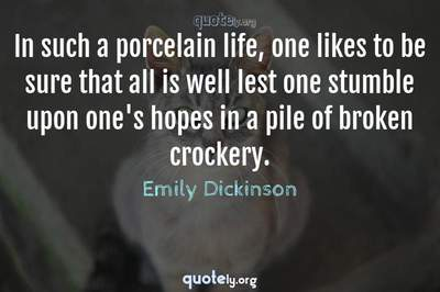 Photo Quote of In such a porcelain life, one likes to be sure that all is well lest one stumble upon one's hopes in a pile of broken crockery.