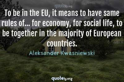 Photo Quote of To be in the EU, it means to have same rules of... for economy, for social life, to be together in the majority of European countries.