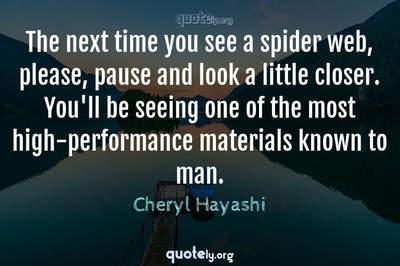 Photo Quote of The next time you see a spider web, please, pause and look a little closer. You'll be seeing one of the most high-performance materials known to man.
