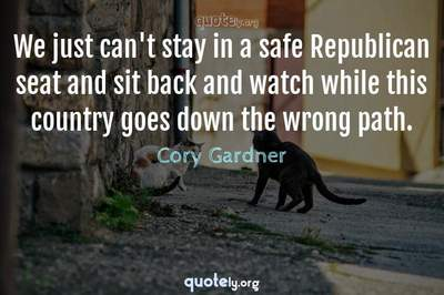 Photo Quote of We just can't stay in a safe Republican seat and sit back and watch while this country goes down the wrong path.