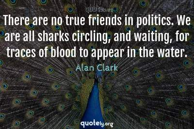 Photo Quote of There are no true friends in politics. We are all sharks circling, and waiting, for traces of blood to appear in the water.