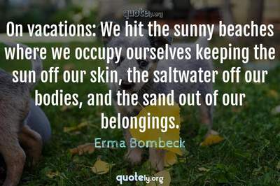 Photo Quote of On vacations: We hit the sunny beaches where we occupy ourselves keeping the sun off our skin, the saltwater off our bodies, and the sand out of our belongings.