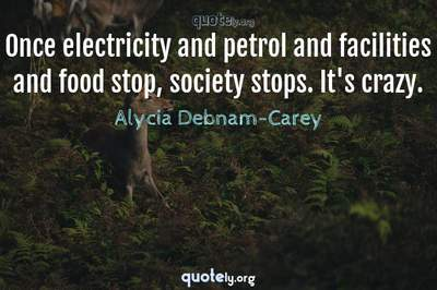 Photo Quote of Once electricity and petrol and facilities and food stop, society stops. It's crazy.