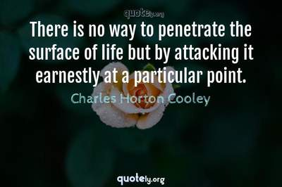 Photo Quote of There is no way to penetrate the surface of life but by attacking it earnestly at a particular point.