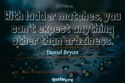 Photo Quote of With ladder matches, you can't expect anything other than craziness.