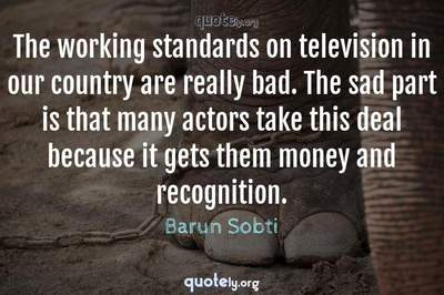 Photo Quote of The working standards on television in our country are really bad. The sad part is that many actors take this deal because it gets them money and recognition.