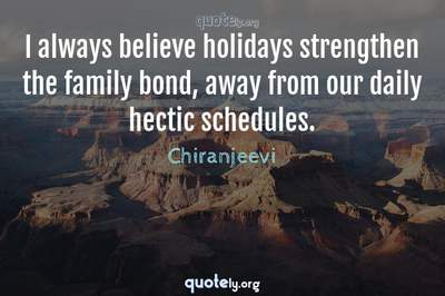 Photo Quote of I always believe holidays strengthen the family bond, away from our daily hectic schedules.
