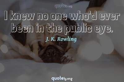 Photo Quote of I knew no one who'd ever been in the public eye.
